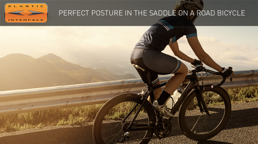road cyclist with a perfect posture in the saddle