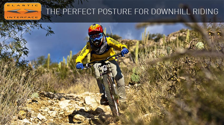 Downhill rider with Elastic Interface cycling pad