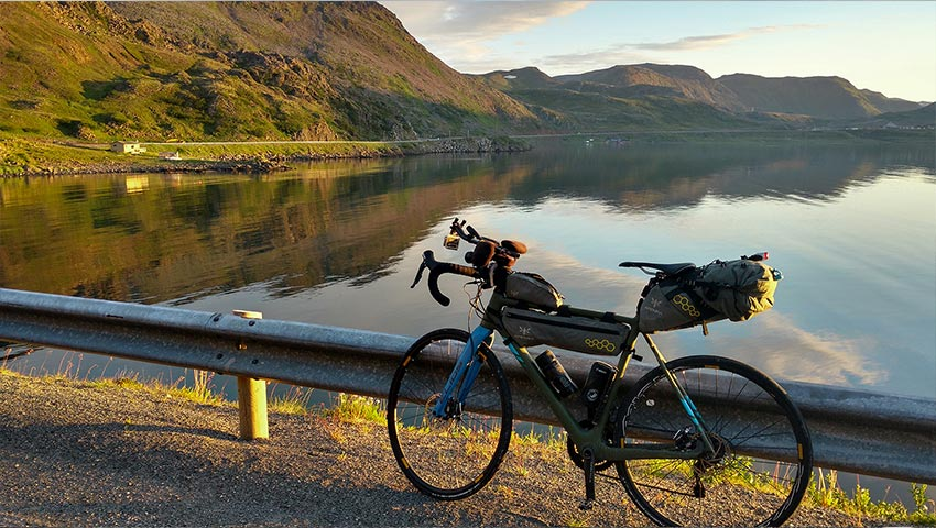 Paolo Laureti's bike at sunset during ultracycling North Cape race