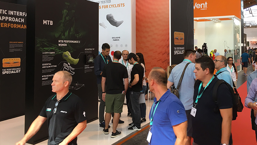 People visiting Elastic Interface's stand at Eurobike